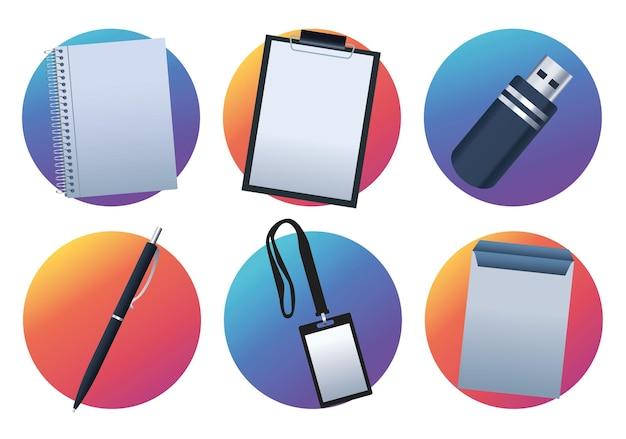Pacote de seis materiais de escritório