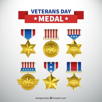 Pacote de seis medalhas realistas para o dia de veteranos