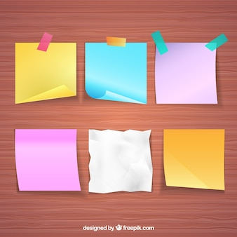 Pacote de seis notas de papel realistas