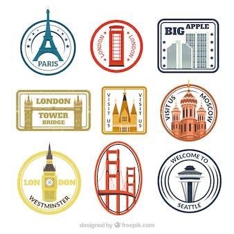 Pacote de selos coloridos com diferentes cidades