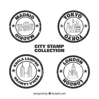 Pacote de selos das cidades redondas vintage