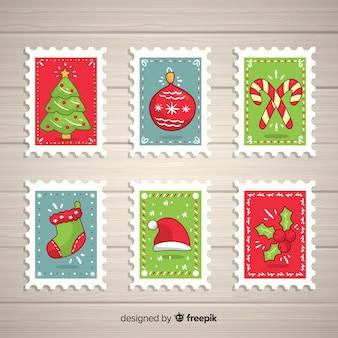 Pacote de selos de elementos de natal
