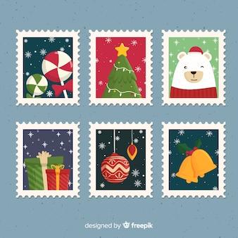 Pacote de selos de natal com flocos de neve
