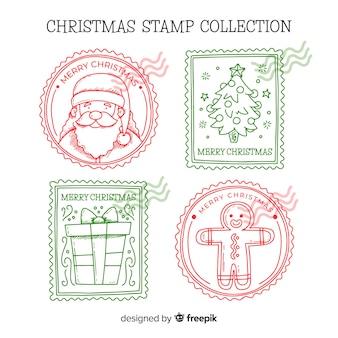 Pacote de selos de natal de mão desenhada