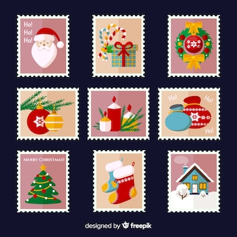 Pacote de selos de natal plana colorida