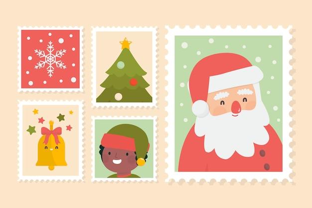 Pacote de selos de natal plana