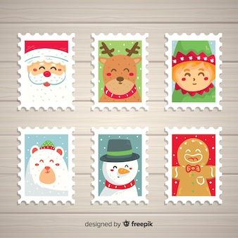 Pacote de selos de personagens de natal