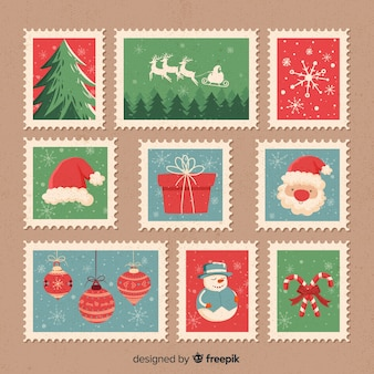 Pacote de selos vintage de natal