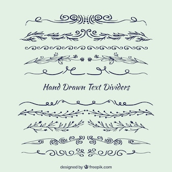 Pacote de separadores de texto desenhados a mão