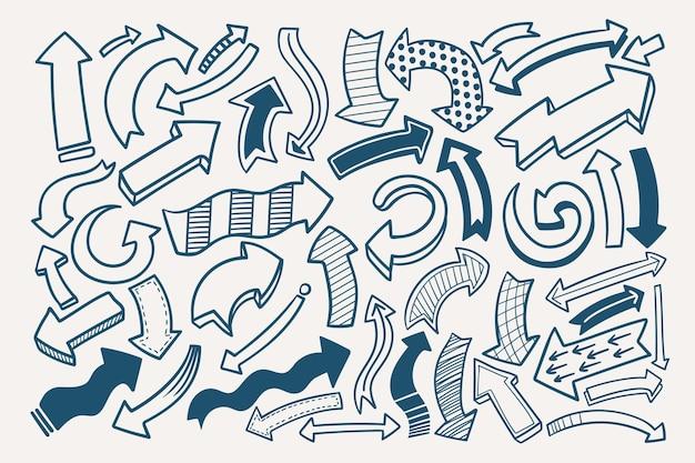 Pacote de setas de estilo desenhado à mão