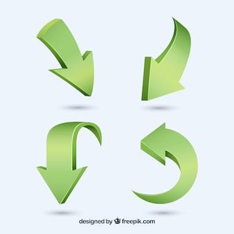 Pacote de setas verdes tridimensionais