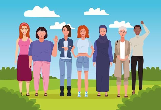 Pacote de sete belas mulheres na ilustração da paisagem
