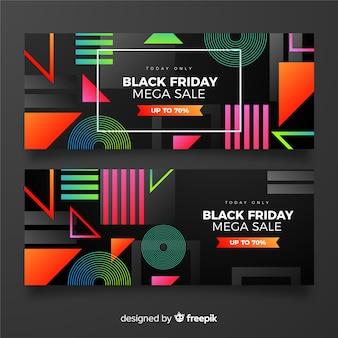Pacote de sexta-feira negra gradiente de banners