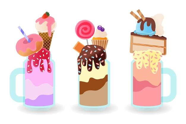 Pacote de shakes de monstro desenhado