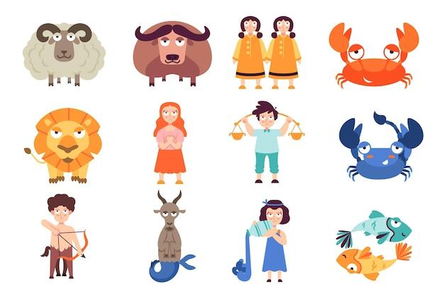 Pacote de signos do zodíaco dos desenhos animados