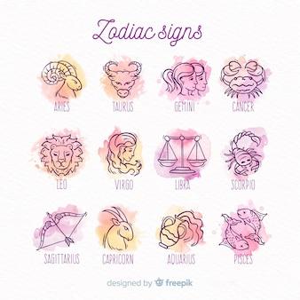 Pacote de signos do zodíaco em aquarela