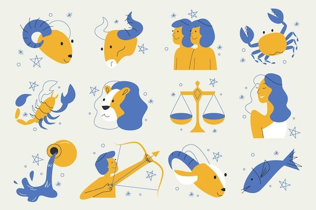 Pacote de signos do zodíaco em design plano