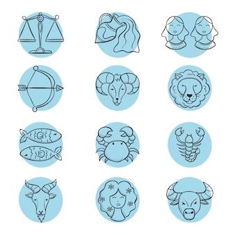 Pacote de signos do zodíaco gravados à mão