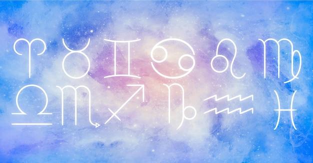 Pacote de signos do zodíaco sobre fundo aquarela