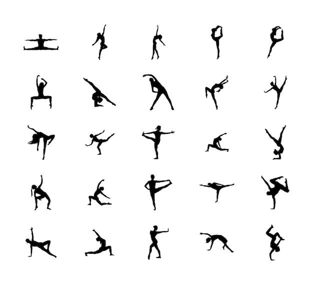 Pacote de silhueta de poses fáceis de ginástica