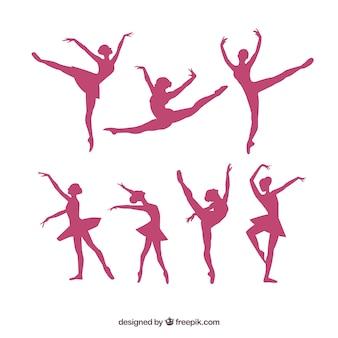 Pacote de silhuetas da bailarina vetor