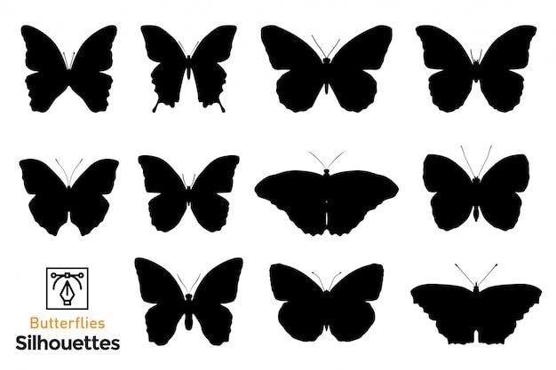 Pacote de silhuetas de borboletas.