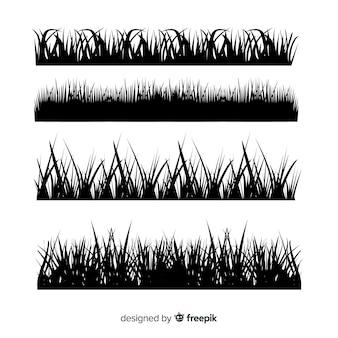 Pacote de silhuetas de fronteira de grama