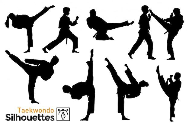 Pacote de silhuetas de taekwondo.