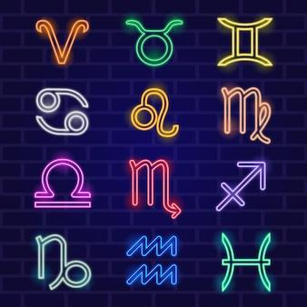 Pacote de símbolos do zodíaco com efeito neon
