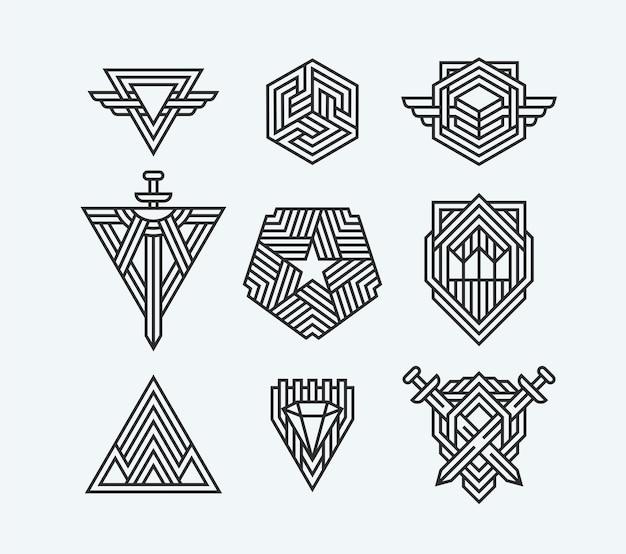 Pacote de símbolos geométricos abstratos, logotipos de linha e elementos.