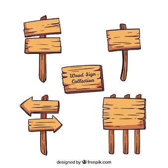 Pacote de sinais de madeira desenhados a mão