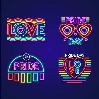 Pacote de sinais de néon de dia de orgulho de ilustrações