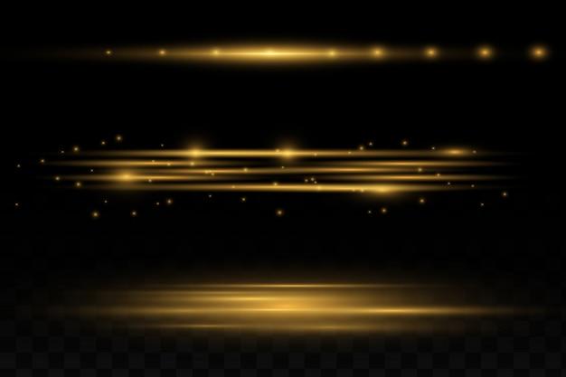 Pacote de sinalizadores de lente horizontal amarela. raios laser, raios de luz horizontais.
