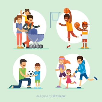 Pacote de situações ao ar livre para famílias planas