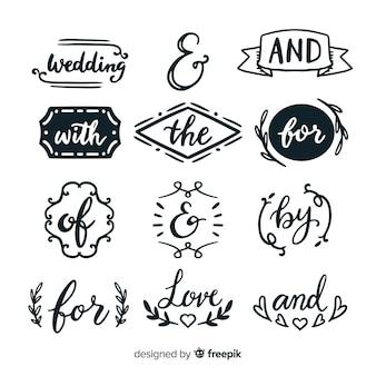 Pacote de slogan de casamento bonito mão desenhada