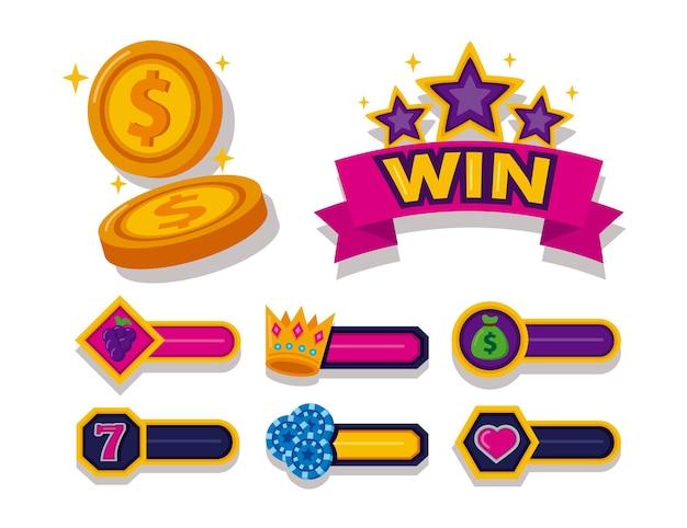 Pacote de slots de casino conjunto de ícones ilustração vetorial design