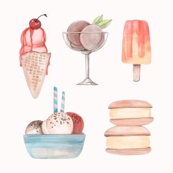 Pacote de sorvete aquarela pintado à mão