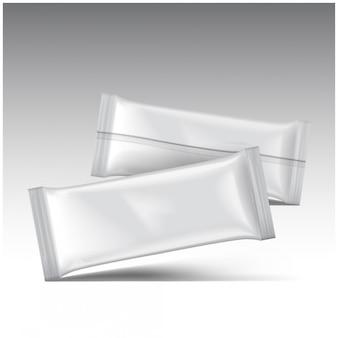 Pacote de sorvete, pacote de lanche de malote de plástico em branco branco