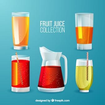 Pacote de sucos de frutas com diferentes gostos