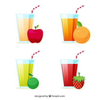 Pacote de sucos e frutas