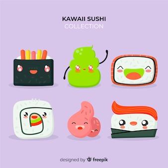Pacote de sushi de mão desenhada kawaii