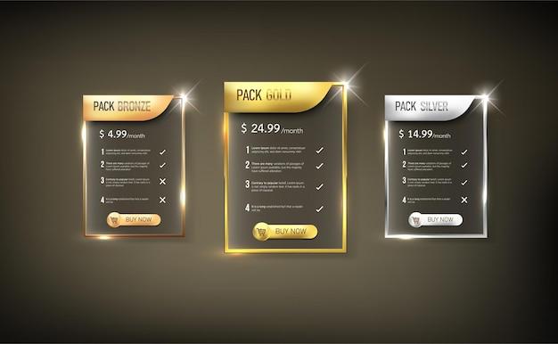 Pacote de tabela de preços da web de botões 10