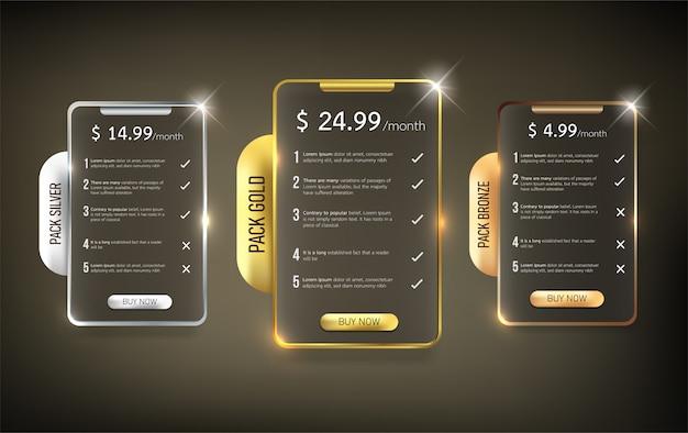 Pacote de tabela de preços da web de botões4