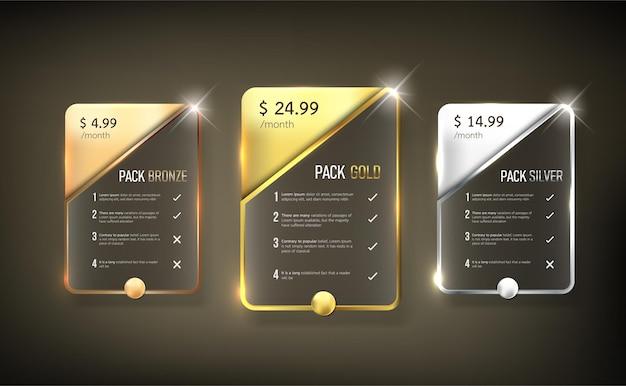 Pacote de tabela de preços do botão web 9