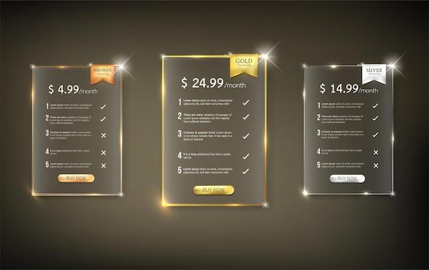 Pacote de tabela de preços do botão web