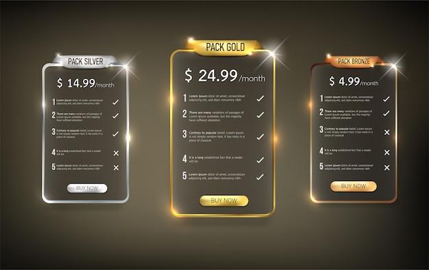 Pacote de tabela de preços na web de botões