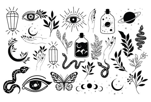 Pacote de tatuagem minimalista em branco b