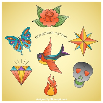 Pacote de tatuagens coloridas desenhadas à mão