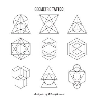 Pacote de tatuagens de formas geométricas
