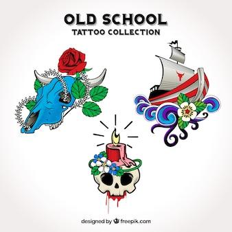 Pacote de tatuagens decorativas desenhadas a mão